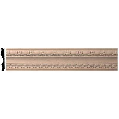4 in. x 96 in. x 5-1/2 in. Unfinished Maple Bedford Carved Wood Crown Moulding