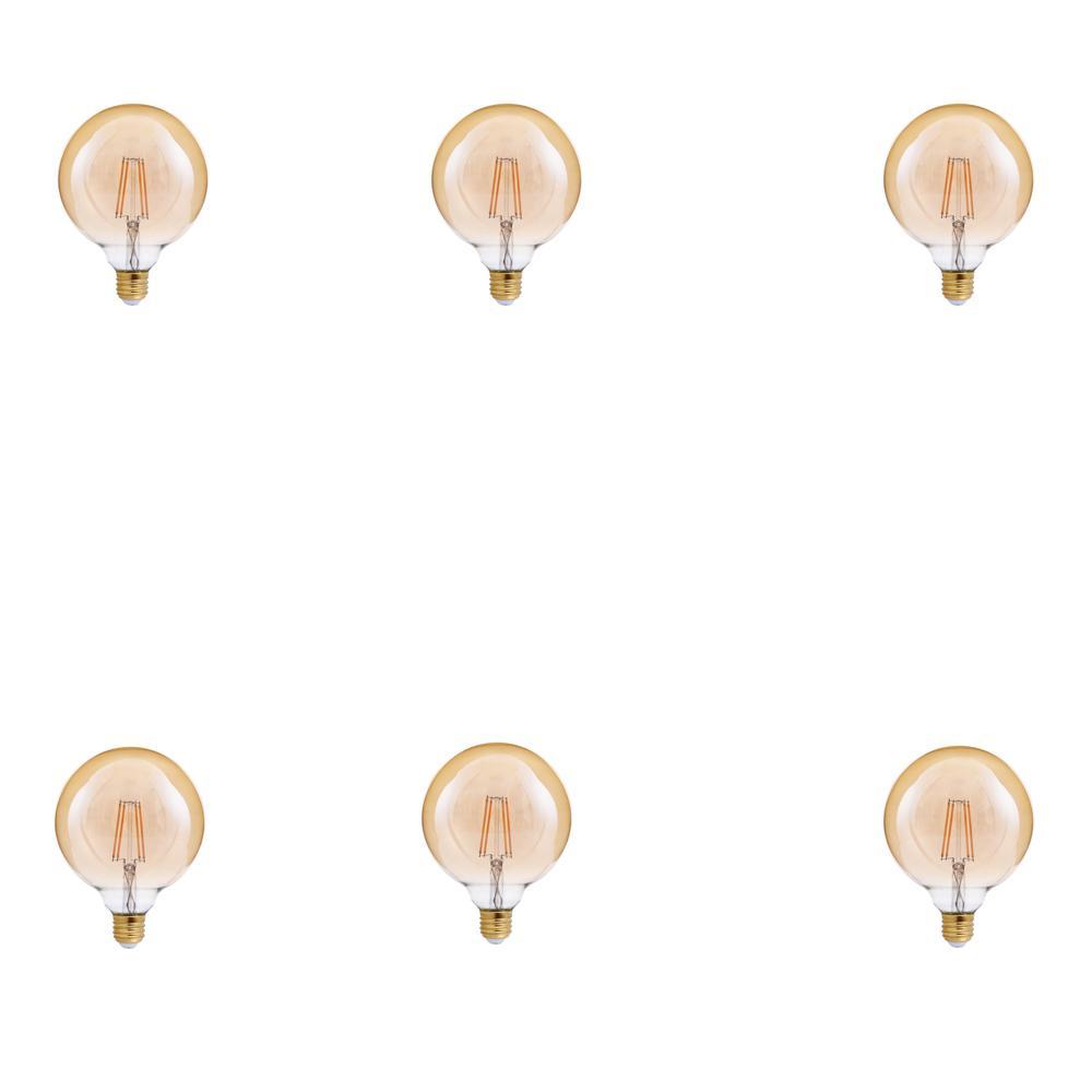 TriGlow 40-Watt Equivalent G40 Globe Dimmable Amber Glass Filament LED Light Bulb Amber 2200K (6-Pack)