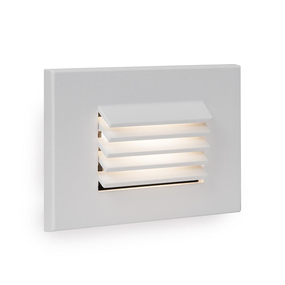 4-Watt Horizontal Louvered 1-Light Line Voltage White LED Stair Light or Wall Light, 3000K