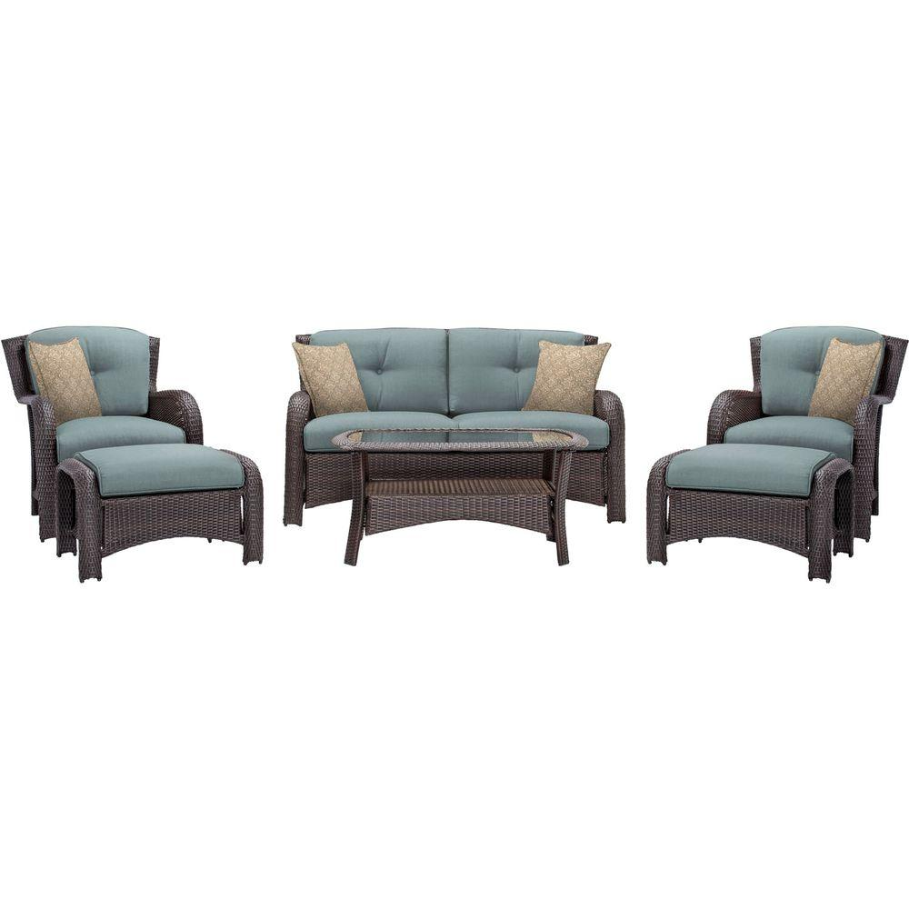 Hanover Strathmere 6-Piece All-Weather Wicker Patio Deep Seating Set with  Ocean Blue - Hanover Strathmere 6-Piece All-Weather Wicker Patio Deep Seating Set