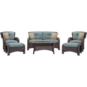 Hanover Strathmere 6-Piece All-Weather Wicker Patio Deep Seating Set with Ocean Blue... by Hanover