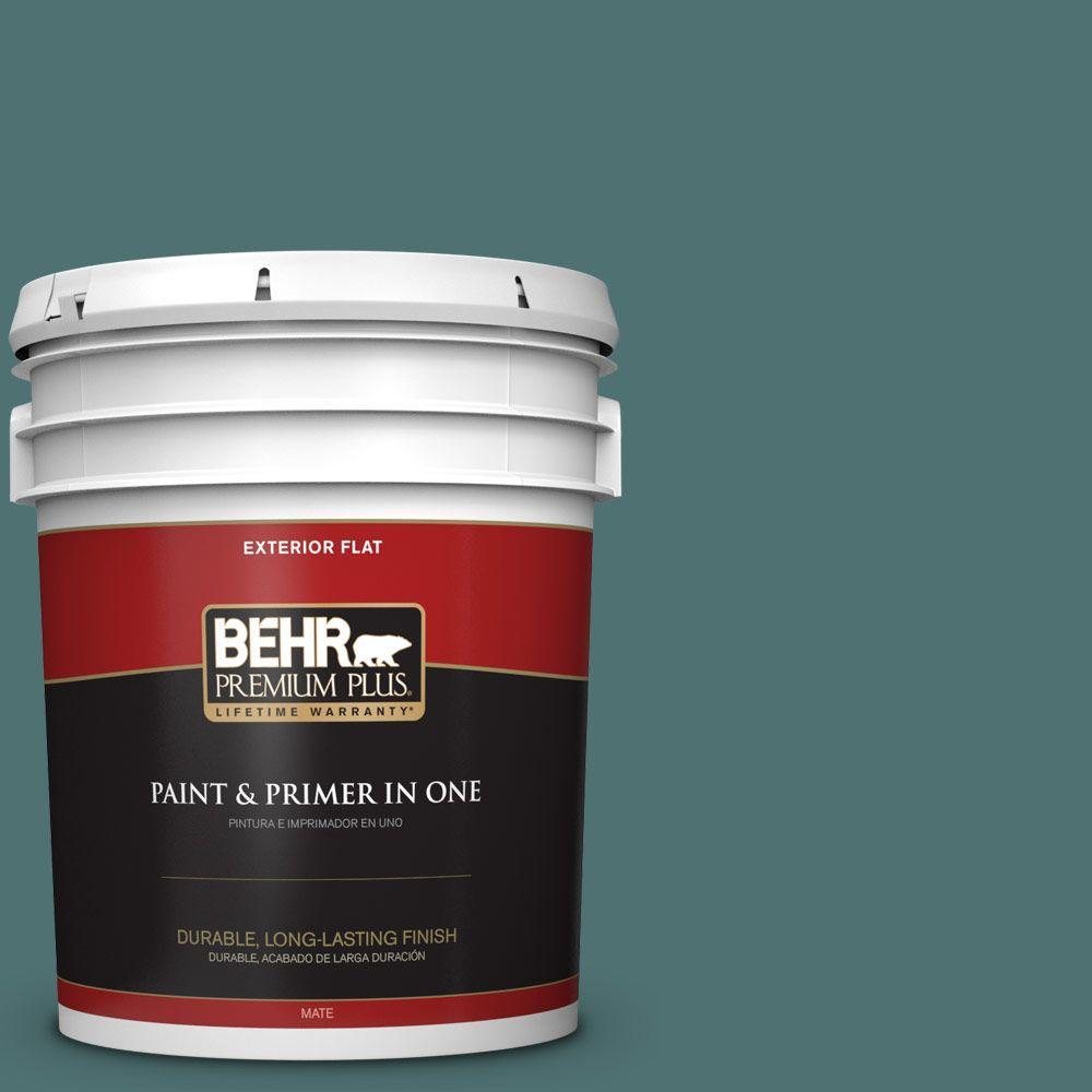 BEHR Premium Plus 5-gal. #S440-6 Tealish Flat Exterior Paint