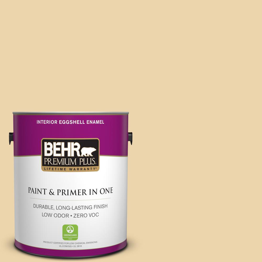 BEHR Premium Plus 1-gal. #ICC-51 Sweet Marzipan Zero VOC Eggshell Enamel Interior Paint