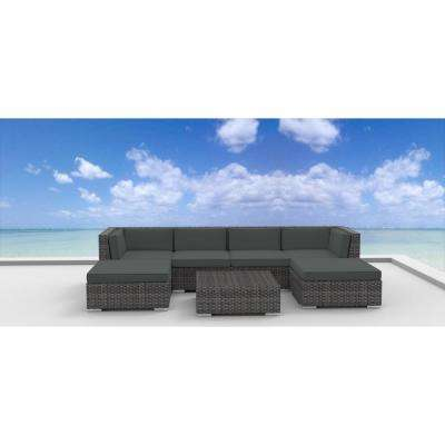 Maui 7-Piece Wicker Outdoor Sectional Seating Set with Gray Cushions