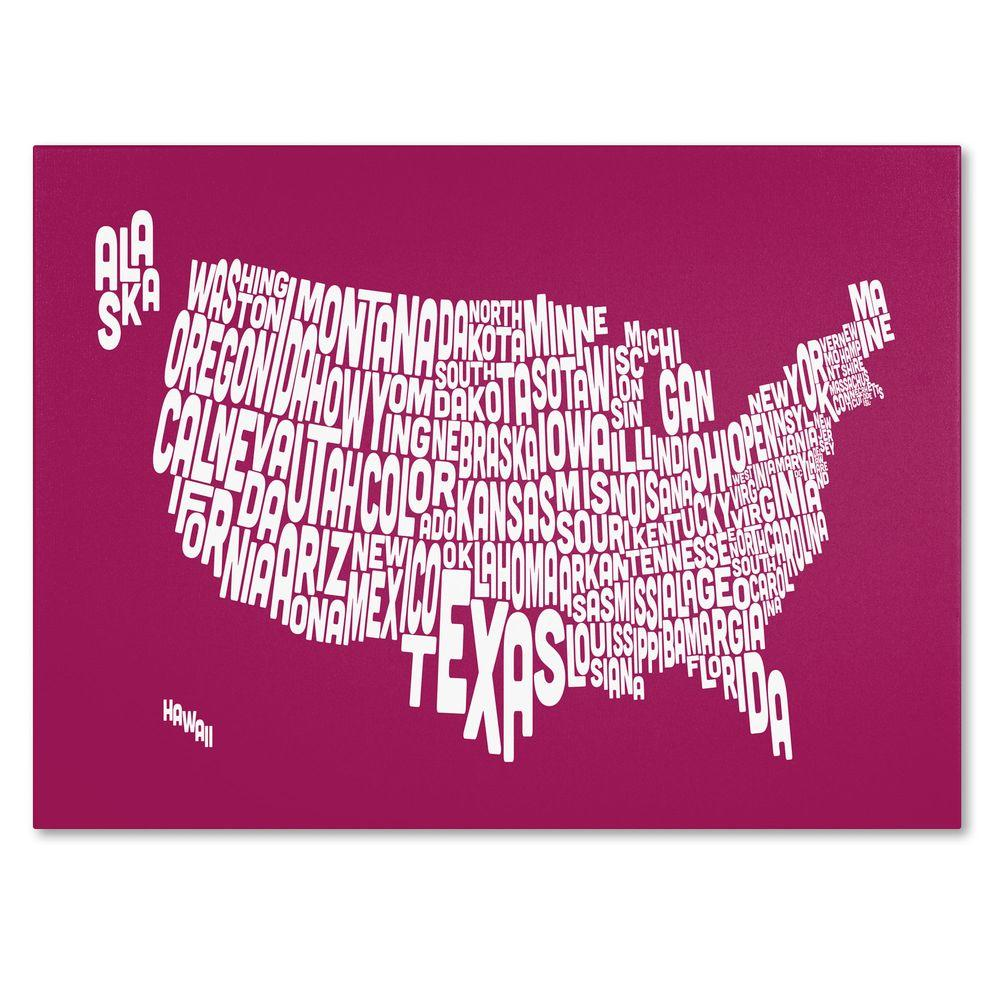 null 16 in. x 24 in. USA States Text Map - Raspberry Canvas Art