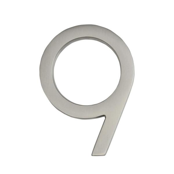 Frank Lloyd Wright Collection 4 in. Wright Satin Nickel Floating House Number 9
