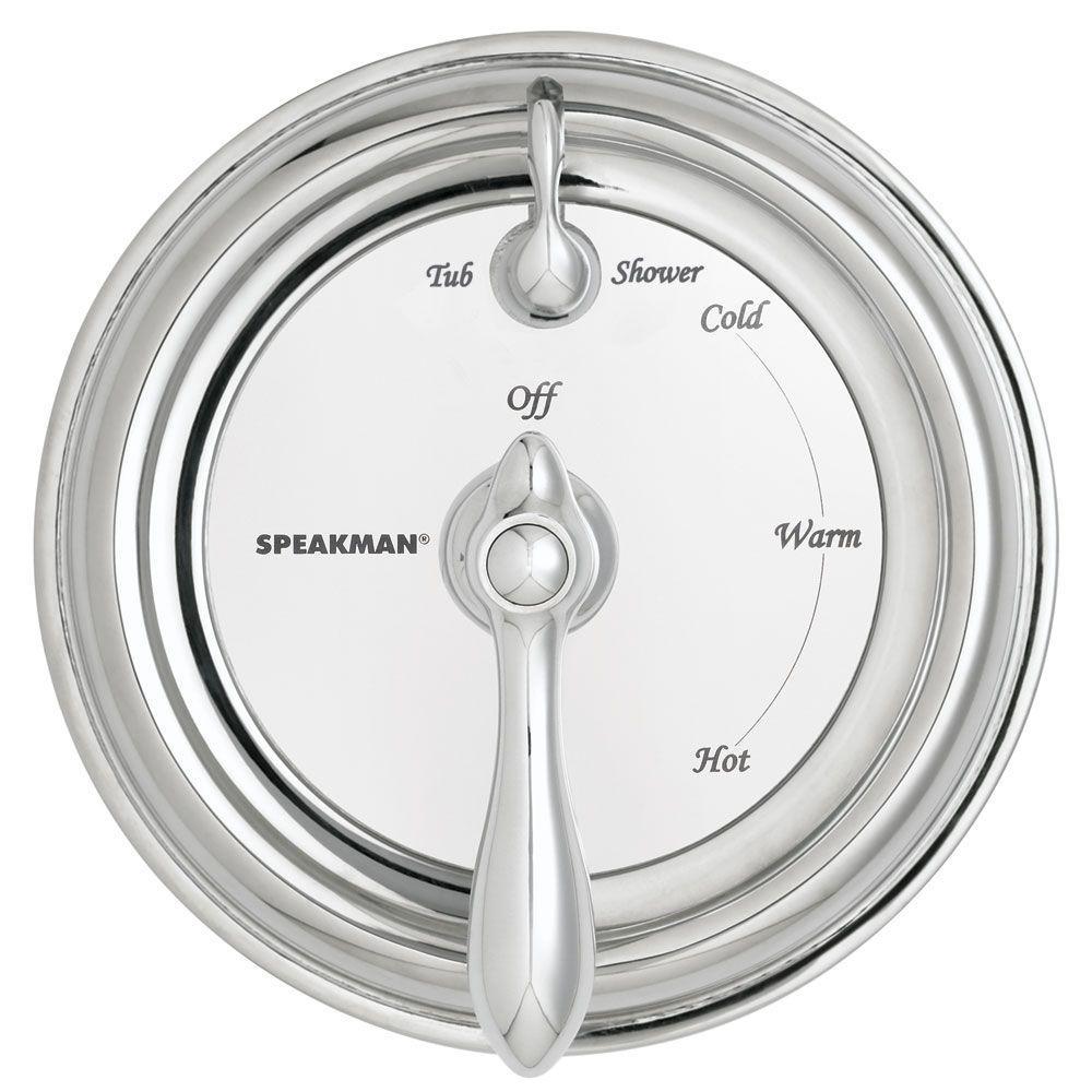 Speakman Sentinel Mark II 1-Handle Regency Pressure Balance Diverter Valve in Chrome with Black and White Labels-DISCONTINUED