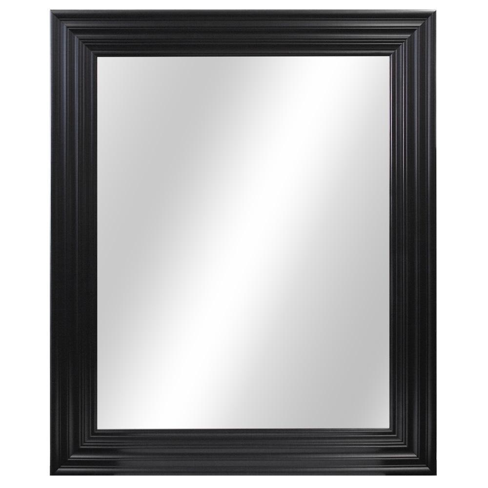 34 in. W x 28 in. H Framed Rectangular Anti-Fog Bathroom Vanity Mirror in Black