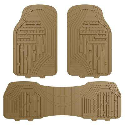 Tan Heavy Duty Trim to Fit 3-Pieces 27 in. x 18 in. Rubber Floor Mats