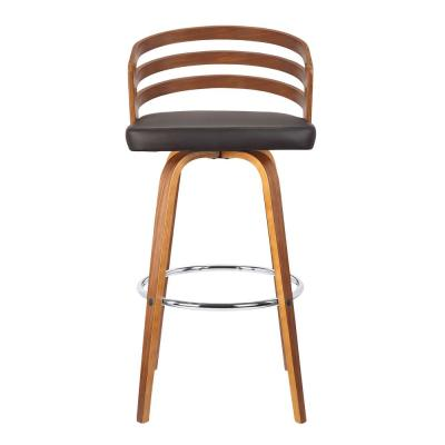 Jayden 30 in. Brown Faux Leather with Walnut Veneer Mid-Century Swivel Bar Height Bar Stool