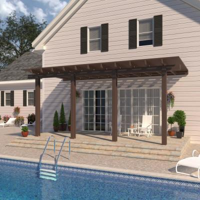 18 ft. x 10 ft. Brown Aluminum Attached Open Lattice Pergola with 4 Posts Maximum Roof Load 20 lbs.