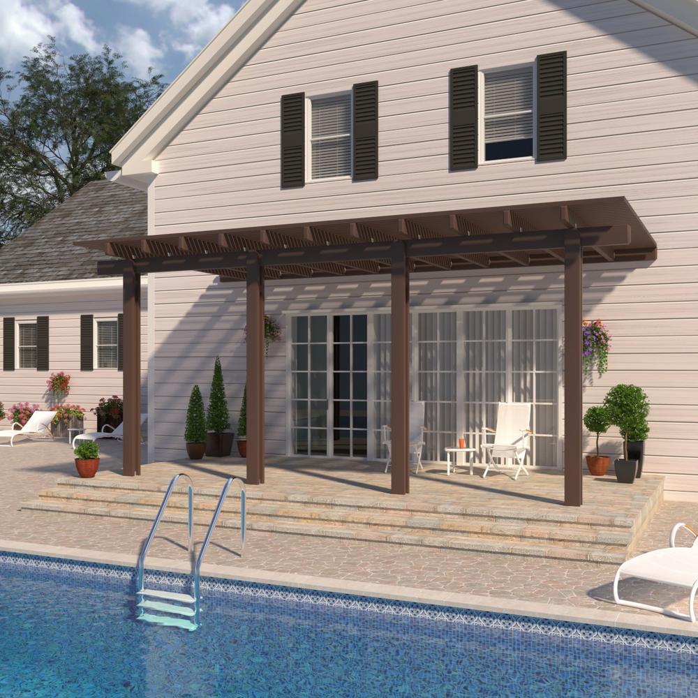 14 ft. x 12 ft. Brown Aluminum Attached Open Lattice Pergola with 4 Posts Maximum Roof Load 20 lbs.