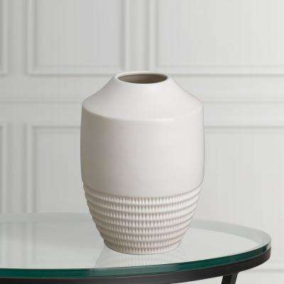 16 in. H White Glaze Decorative Nantucket Vase