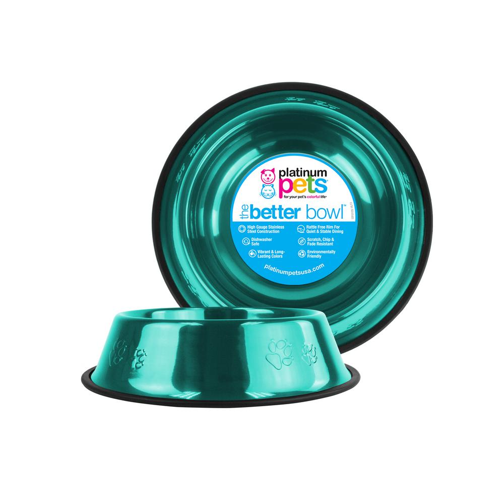 3.5 Cup Embossed Non-Tip Stainless Steel Dog Bowl, Caribbean Teal