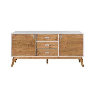 Jackie 66.92 in. White and Natural Wood 3-Drawer Sideboard