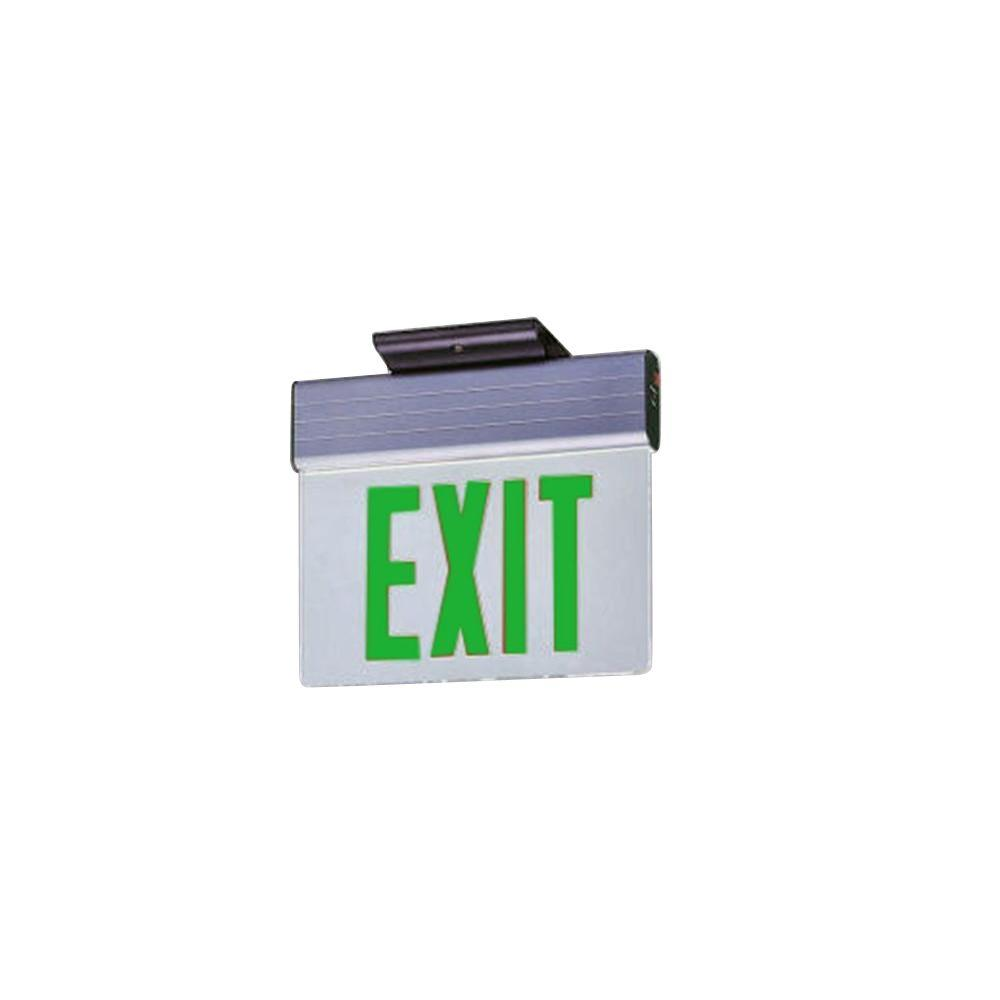 Illumine 2-Light White LED Exit Sign with Green Letters