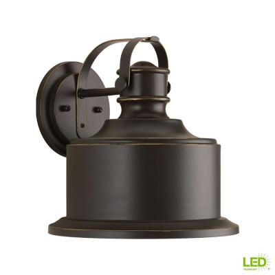 Callahan Collection 1-Light  Antique Bronze 11.5 in. Outdoor Integrated LED Wall Lantern Sconce