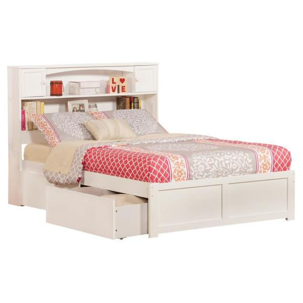 Atlantic Furniture Newport White Full Platform Bed With Flat Panel Foot Board And 2 Urban