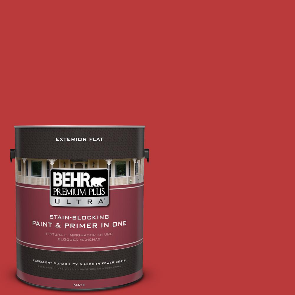 BEHR Premium Plus Ultra 1 gal. #UL110-7 Edgy Red Flat Exterior Paint