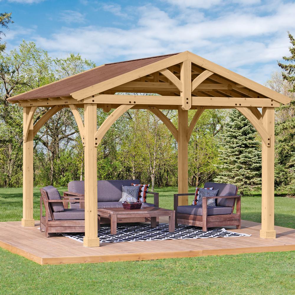 12 Great Ideas For A Modest Backyard: Yardistry 12 Ft. X 10 Ft. Cedar Avery Pavilion-YM11742