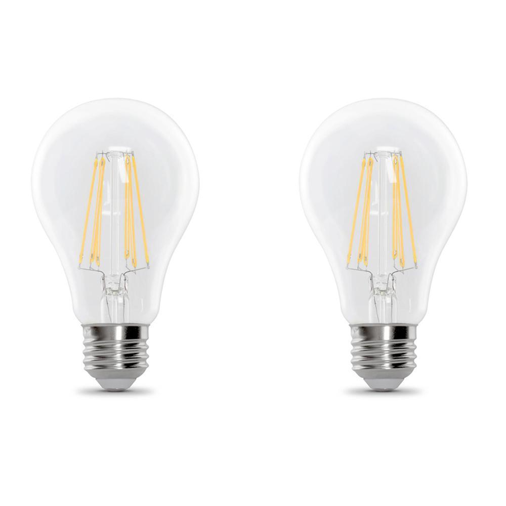 100-Watt Equivalent A21 Dimmable Filament LED 90+ CRI Clear Glass Light Bulb, Daylight (2-Pack)