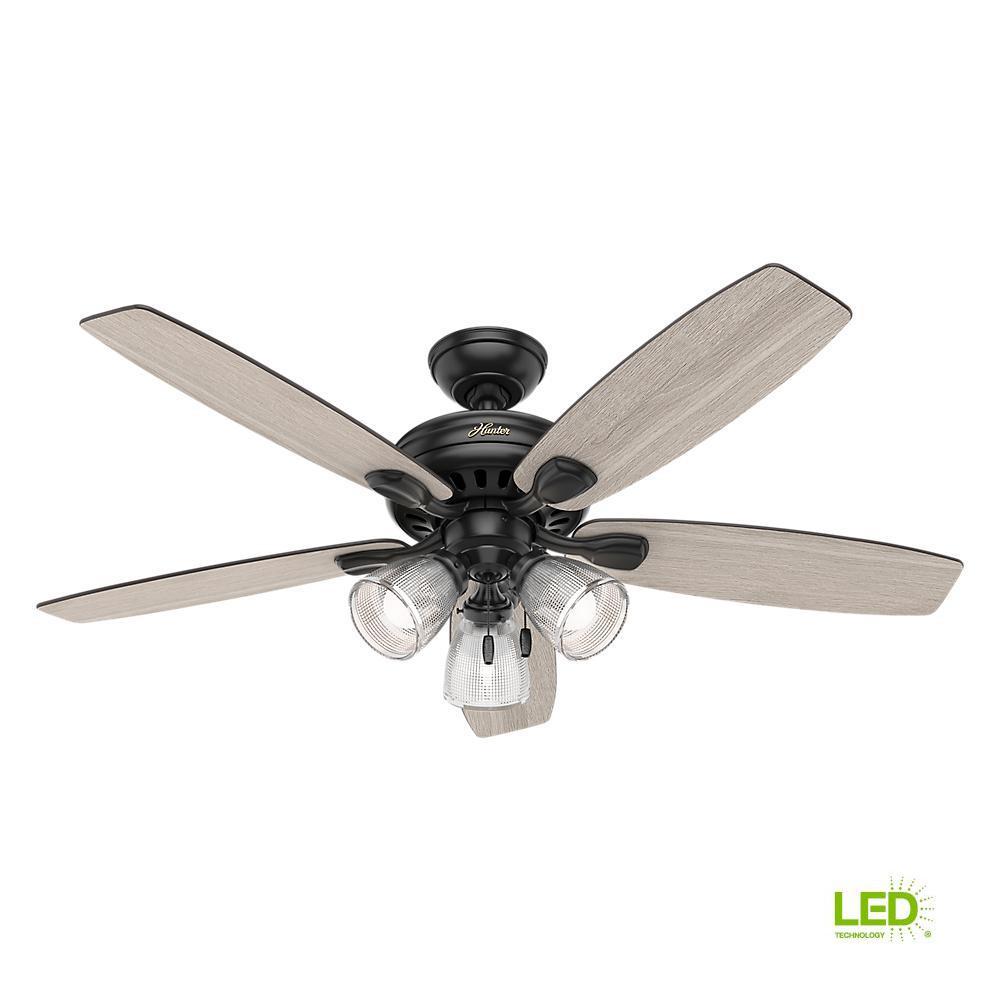 Hunter Highbury Ii 52 In Led Indoor Matte Black Ceiling Fan With Light Kit 52028 The Home Depot