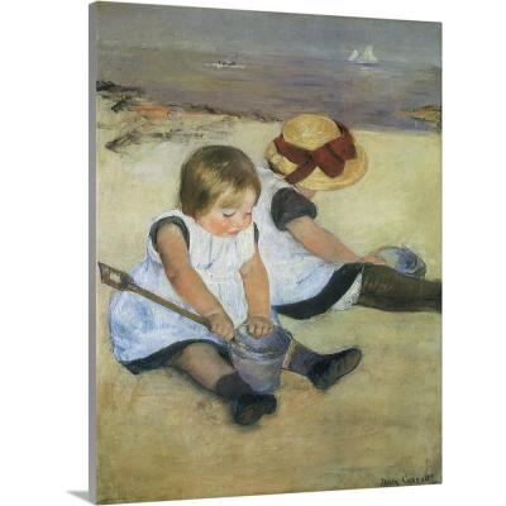 """""""Children on the Beach"""" by Mary Cassatt Canvas Wall Art"""