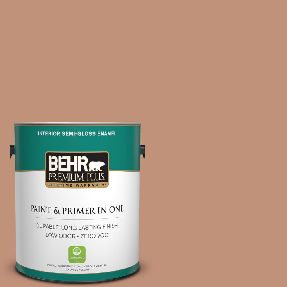 BEHR Premium Plus 1-gal. #ICC-101 Florentine Clay Zero VOC Semi-Gloss Enamel Interior Paint