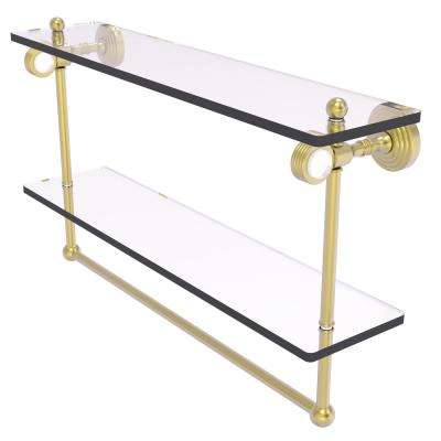 Pacific Grove 22 in. Double Glass Shelf with Towel Bar and Groovy Accents in Satin Brass