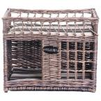 Two-level Willow Pet House with Soft Fabric Cushion For Cat or Dog, Grey