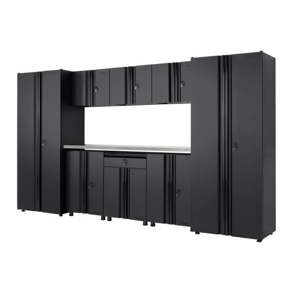 Welded 133 in. W x 75 in. H x 19 in. D Steel Garage Cabinet Set in Black (9-Piece with Stainless Steel Work Surface)