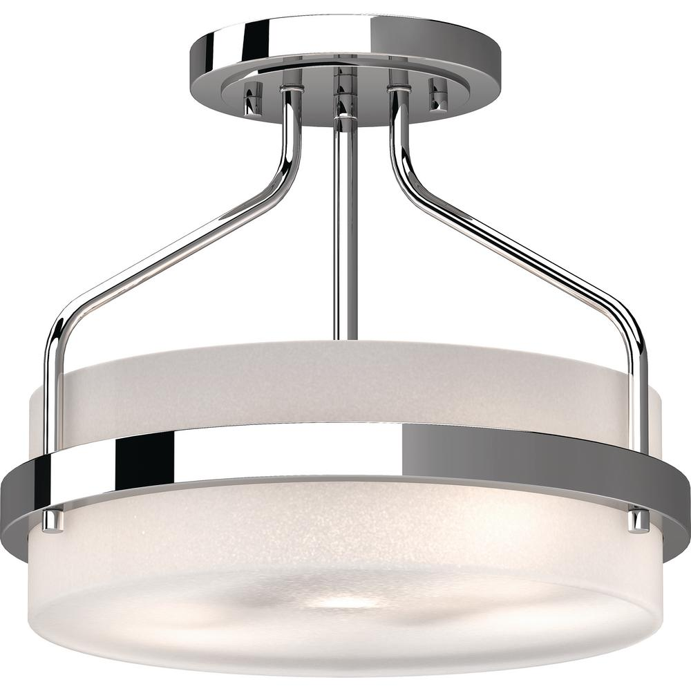 Volume lighting emery 2 light chrome indoor semi flush mount ceiling fixture with frosted glass drum