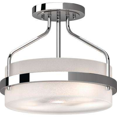 Emery 2-Light Chrome Indoor Semi-Flush Mount Ceiling Fixture with Frosted Glass Drum