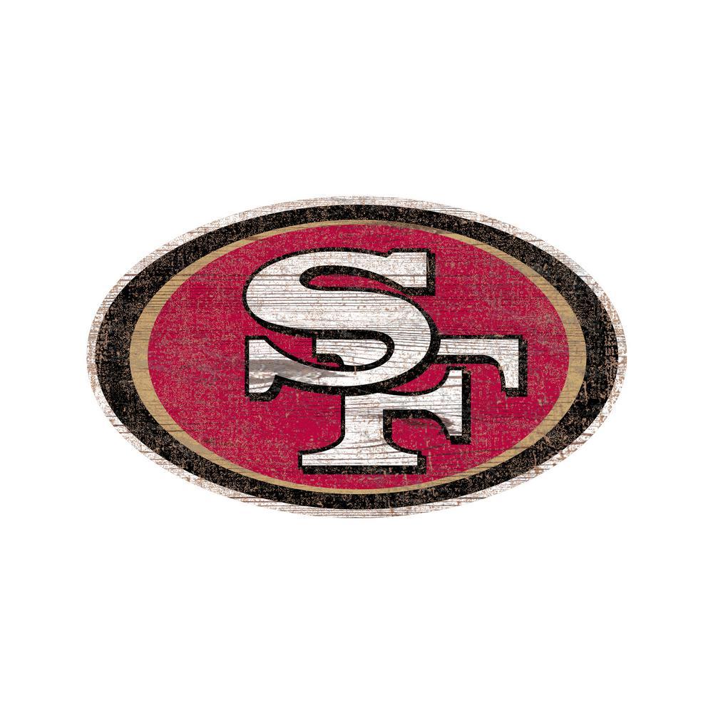 NFL Indoor San Francisco 49ers Distressed Logo Cutout Wood Sign