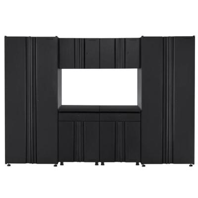 Welded 109 in. W x 75 in. H x 19 in. D Steel Garage Cabinet Set in Black (6-Piece)