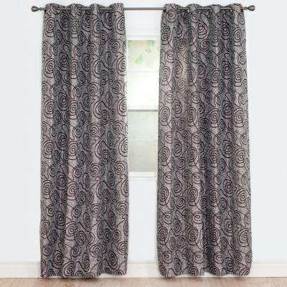 Semi-Opaque Joy Burgundy Polyester Jacquard Curtain