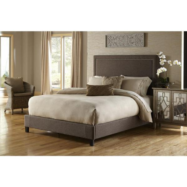 PRI Brown King Upholstered Bed