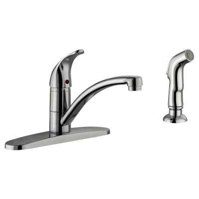 Trenton Single-Handle Standard Kitchen Faucet with Side Sprayer in Polished Chrome