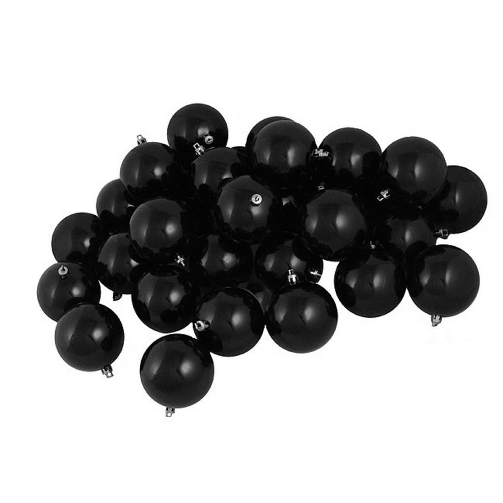 Black Christmas Ornaments.Northlight Shatterproof Shiny Jet Black Christmas Ball Ornaments 32 Count