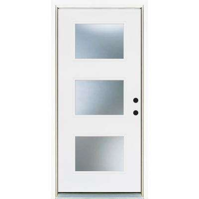 36 in. x 80 in. Smooth White Left-Hand Inswing 3-Lite Frosted Finished Fiberglass Prehung Front Door