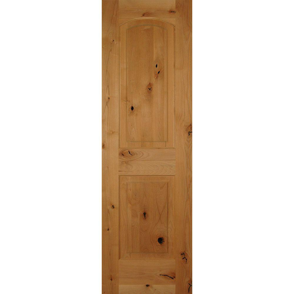 Builder's Choice 24 in. x 80 in. 2-Panel Arch Top Unfinished Solid Core Knotty Alder Single Prehung Interior Door