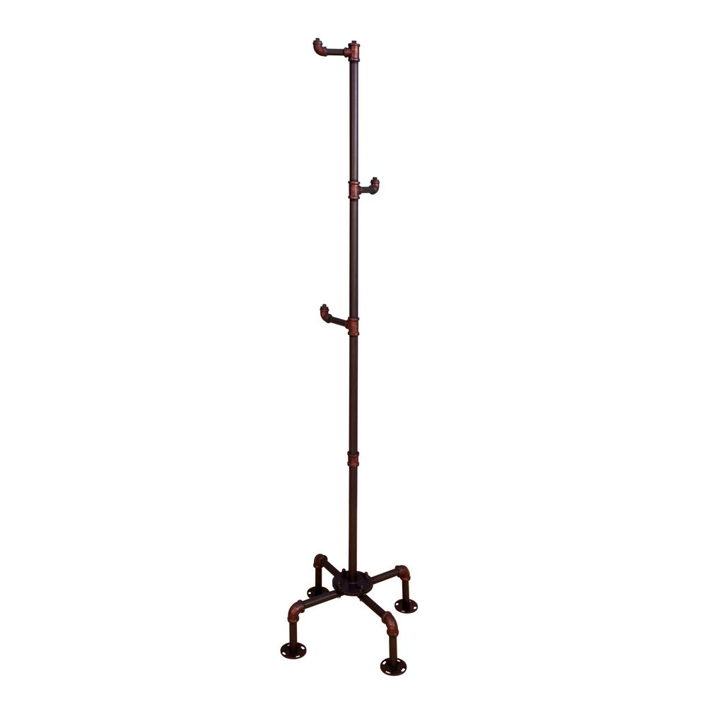 Kwok Antique Black Coat Rack with 3-Rungs