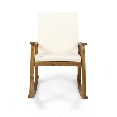 Candel Teak Brown Wood Outdoor Rocking Chair with Cream Cushion
