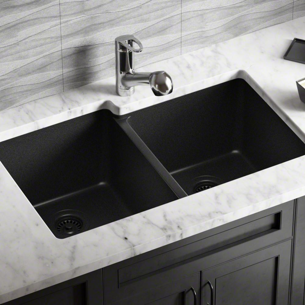 801 Black Undermount Offset Double Bowl Quartz Kitchen Sink