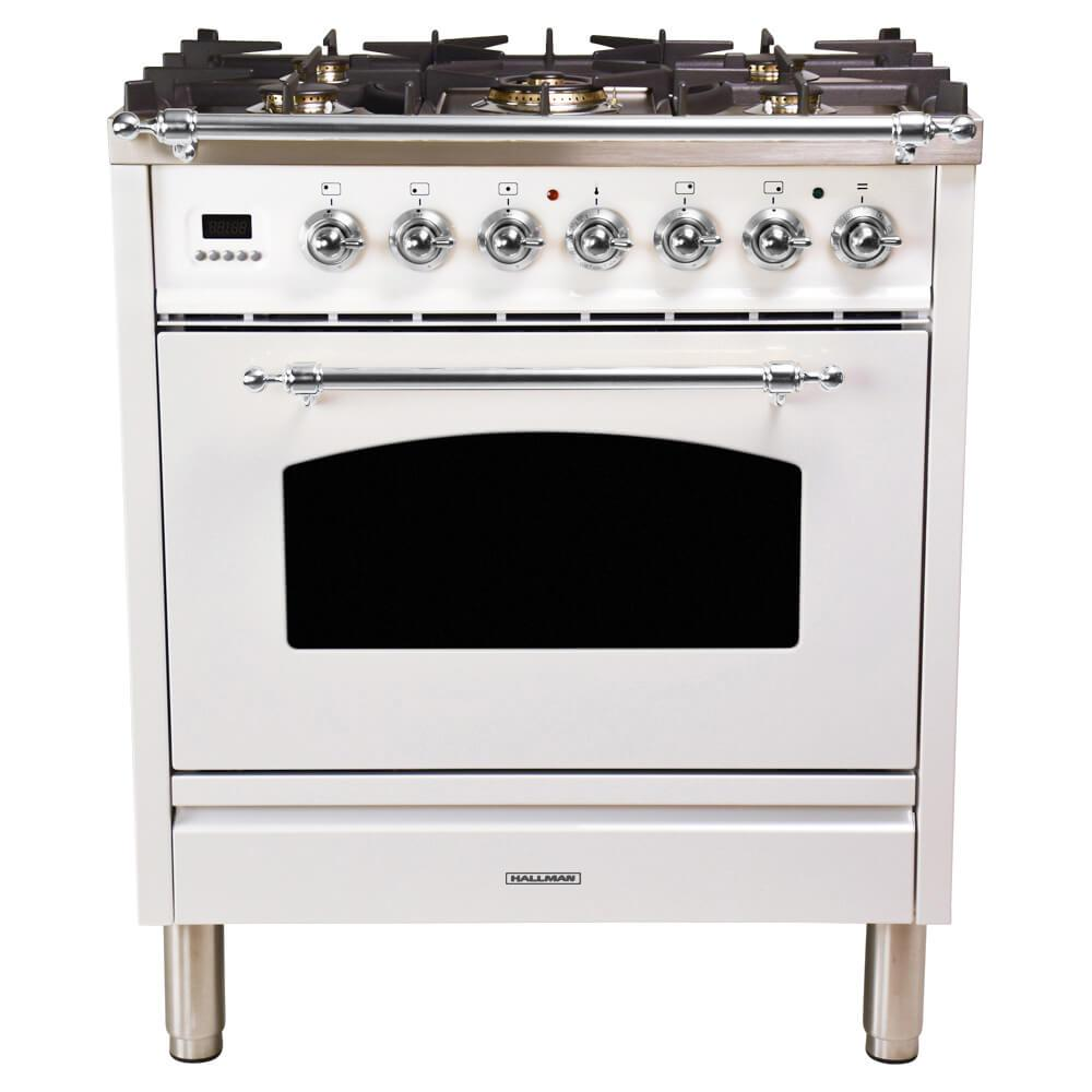 Hallman 30 in. 3.0 cu. ft. Single Oven Dual Fuel Range with True Convection, 5 Burners, Chrome Trim in White