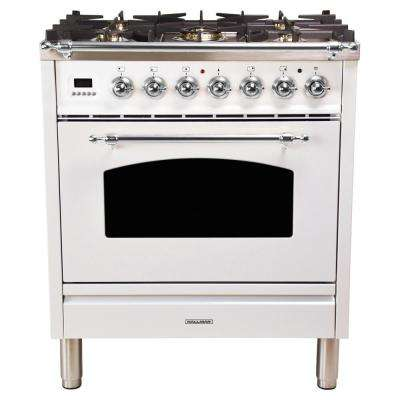 30 in. 3.0 cu. ft. Single Oven Dual Fuel Range with True Convection, 5 Burners, Chrome Trim in White