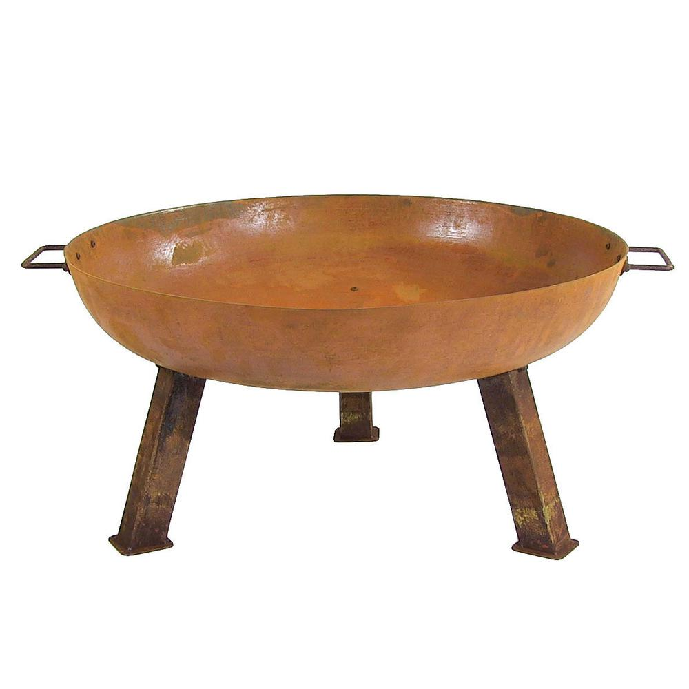 Sunnydaze Decor Rustic 30 in. W x 15 in. H Round Cast Iron Wood-Burning Fire Pit Bowl