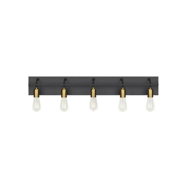 Tae 36 in. W 5-Light Black Industrial Metal Bathroom Vanity Light with Aged Brass Socket Cups and Black Cords