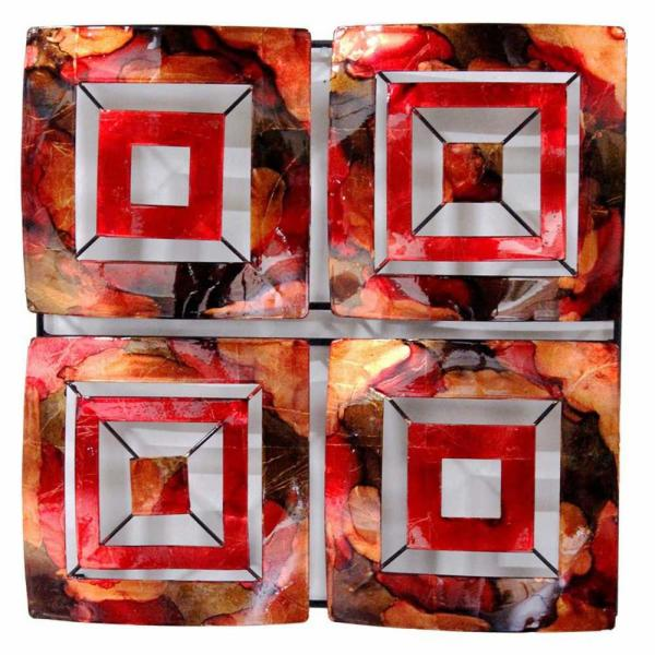 Shelly Metal Copper Red Gold Square Home Accent Decor