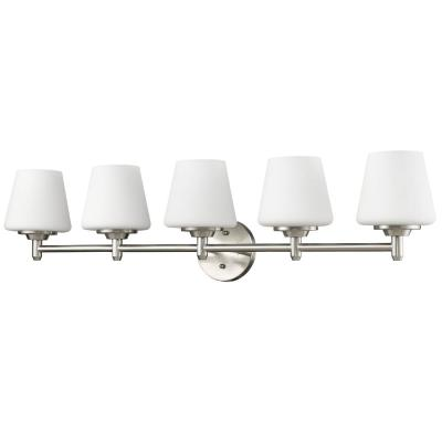 Paige 5-Light Satin Nickel Vanity Light with Frosted Glass Shades